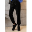Winter's Fashion Velvet Drawstring Waist Elastic Cuffs Sports Sweatpants