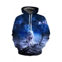 Digital 3D Long Sleeve Galaxy Astronaut Printed Blue Oversize Hoodie