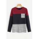 New Trendy Striped Colorblock Single Pocket Chest Round Neck Long Sleeve Loose T-Shirt