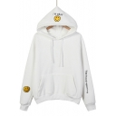 Junior's Fashion Long Sleeve Smile Face Letter Embroidered Loose Thick Hoodie