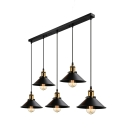 Antique Black 5 Light LED Multi Light Industrial Pendant Light with Metal Shade