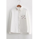 Lovely Cartoon Embroidered Pocket Patched Chest Lapel Collar Long Sleeve White Shirt