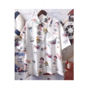 New Stylish Unique Cartoon Graffiti Pattern Short Sleeve White Button Down Shirt