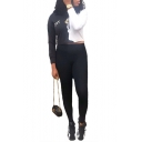 Sexy Colorblock Long Sleeve Crop Top Skinny Plain Elastic Waist Pants Black Co-ords