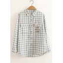 Letter WHAT MAKES ME HAPPY Rabbit Embroidered Pocket Plaid Print Long Sleeve Shirt