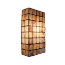 Rectangle Wall Lamp Modern Simple Tiffany Style Shelly Wall Sconce in Amber