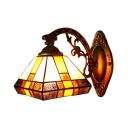 Tiffany Style Mission Wall Light Stained Glass Wall Lamp in Multicolor for Bedroom Corridor