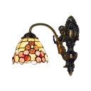 Floral Shelly Wall Sconce with Mermaid Tiffany Style Stained Glass Wall Lamp in Rubbed Bronze
