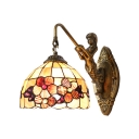 Dome Shade Wall Sconce with Mermaid Tiffany Style Stained Glass Wall Lamp in Beige