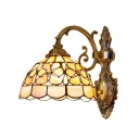 Shelly Floral Wall Sconce Industrial Tiffany Stained Glass Wall Lamp in Multicolor for Corridor