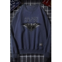 Letter ALL MEN MUST DIE Eagle Printed Round Neck Long Sleeve Casual Sweatshirt