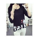 Lovely Cartoon Cat Heart Printed Round Neck Long Sleeve Casual Loose T-Shirt