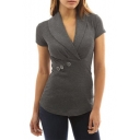 Women's Chic Lapel V-Neck Short Sleeve Button Embellished Cotton Slim T-Shirt