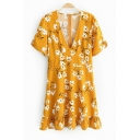 Lovely Short Sleeve V Neck Floral Printed Ruffle Hem Mini A-Line Yellow Dress