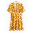 Lovely Short Sleeve V Neck Floral Printed Ruffle Hem Mini A-Line Yellow Dress