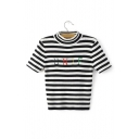 Chic Letter UNIF Embroidered Mock Neck Short Sleeve Striped Print Cropped Knit T-Shirt