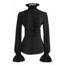 Punk Style Long Sleeve High Neck Plain Ruffle Detail Flare Cuff Button Down Shirt