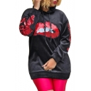 Sexy Red Lip Sequined Embellished Long Sleeve Relaxed Velvet Hoodie