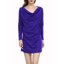 Ladies' Graceful Cowl Neck Long Sleeve Basic Solid Mini Cotton Sheath Dress