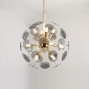 Impulse LED Chandelier Post Modern Glass Multi Light Pendant in Aqua/Smoke/Cream for Bedside Restaurant