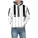 White 3D Piano Vertical Striped Printed Long Sleeve Relaxed Unisex Hoodie