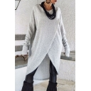 Women's Round Neck Long Sleeve Basic Solid Wrap Split Front Tunic Casual T-Shirt