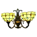 Bowl Wall Mount Light Tiffany Style Amber Glass Double Heads Wall Sconce for Bedroom