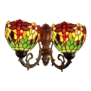 Tiffany Style Dragonfly Wall Lamp Stained Glass 2 Lights Wall Light Sconce in Multi Color