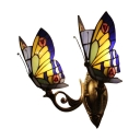 Stained Glass Butterfly Wall Lamp Tiffany Style Handcrafted 2 Heads Wall Light in Navy Blue