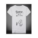 Cute Dog Graphic White Round Neck Short Sleeves Summer T-shirt