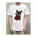 Fashion Dog Pattern Short Sleeve Crew Neck Casual Tee