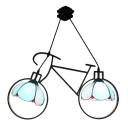 Aqua Bicycle Suspended Light Tiffany Modern Stained Glass 2 Lights Hanging Lamp for Kids