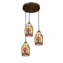 Brass Finish Dragonfly Pendant Light Tiffany Style Shelly 3 Lights Drop Light in Multicolor