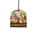 Stained Glass Rose Suspended Light Vintage Single Light Pendant Light in Multi Color