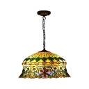 Triple Light Dome Drop Light Tiffany Style Stained Glass Ceiling Pendant Lamp in Multi Color