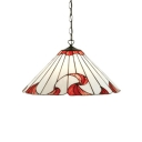 Conical Drop Ceiling Lighting Tiffany Style Stained Glass Single Light Pendant Light in White