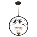 Bell Shade Upward Pendant Light Tiffany Style White Glass 1 Light Hanging Lamp with 2 Birds