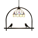 1 Light Arch Shelf Pendant Light Tiffany Vintage Stained Glass Drop Light for Coffee Shop