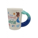 Letter Mermaid Printed Fish Tail Design Handle Blue Ceramic Mug