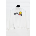 Cute Cartoon Smile Face Letter BROKI Printed High Neck Long Sleeve Pullover Sweatshirt