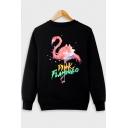 Trendy Letter Pink Flamingo Pattern Crewneck Long Sleeve Regular Fitted Sweatshirt