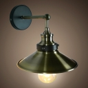 1 Bulb Railroad Lighting Fixture Retro Style Brushed Steel Wall Light for Bedroom