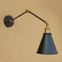 Iron Cone LED Wall Light Vintage Adjustable 1 Head Wall Mount Light in Brass for Hallway