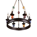 Candle Style Chandelier Industrial Vintage Iron 6 Light LED Hanging Lamp with Billiard Deco