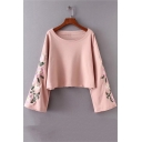 Cute Floral Embroidered Bell Sleeve Boat Neck Cropped Sweatshirt