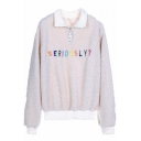 Letter SERIOUSLY Embroidered Long Sleeve Lapel Collar Zip Up Embellished Sweatshirt