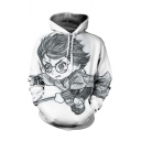 White Cute 3D Cartoon Character Long Sleeve Unisex Hoodie