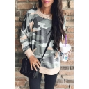 Classic Camouflage Pattern Round Neck Long Sleeve Casual Looose Sweatshirt