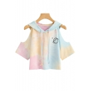 Colorblock Cold Shoulder Leisure Hooded Pink Tee for Girls