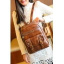 New Arrival Retro PU Double Buckle Embellished Plain Backpack for Juniors